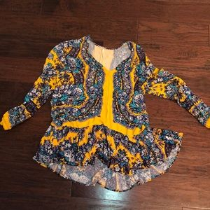Free People Yellow Blue Tunic